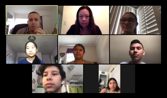 A group of R. J. Frank journalism students and their teacher Joshua Goldstein, upper left, are interviewed by a VC Star reporter through an online conferencing platform.