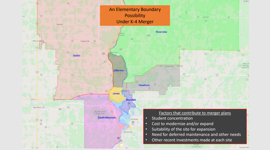 A map shows possible new elementary school boundaries in the Wausau School District if voters pass a referendum to consolidate the buildings.