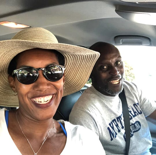 Felicia and Malcolm Burks about to hit the beach last August in Myrtle Beach, South Carolina.