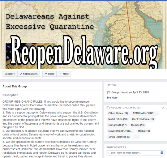 """The Facebook group """"Delawareans Against Excessive Quarantine"""" has more than 4,500 members as of Thursday."""