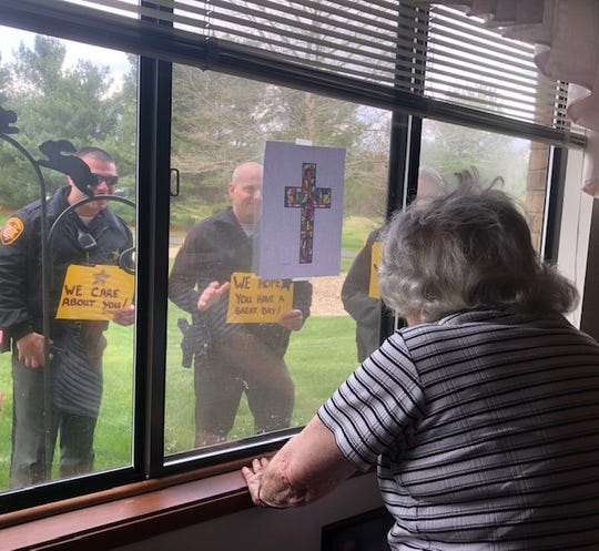 Muskingum County Sheriff's deputies stop by to visit nursing home and senior housing residents to let them know they are thinking about them.