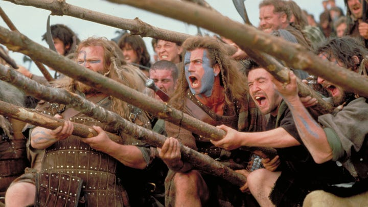 "Mel Gibson directed and starred as William Wallace  in 1995's ""Braveheart,"" which won best picture and best director Oscars, and turns 25 this year."