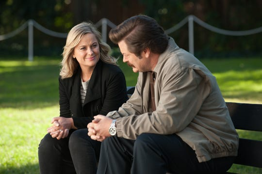 "(l-r) Amy Poehler as Leslie Knope and Nick Offerman as Ron Swanson  on the NBC TV series ""Parks And Recreation."""