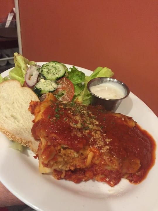 A lasagna dish prepared by Barista Blues Cafe in Battle Creek.