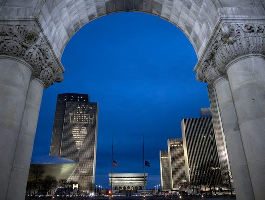 The Corning Tower is lit up April 23, 2020, with NY Tough at the Empire State Plaza in Albany.