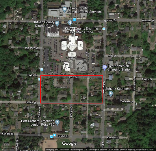Kitsap County is working to purchase property between Taylor Street and Smith Street in Port Orchard to create more parking for the courthouse, which is undergoing a major remodel.