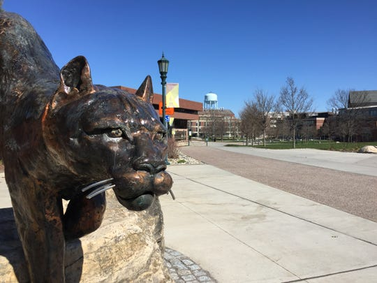 The University of Vermont campus near Royall Tyler Theatre is nearly vacant at 3:30 p.m. April 23, 2020 during the COVID-19 pandemic.