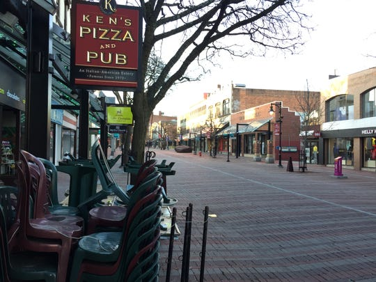 The Church Street Marketplace is nearly empty at 7 p.m. April 23, 2020, during the COVID-19 pandemic.