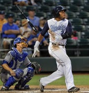 GEORGE TULEY/SPECIAL TO THE CALLER-TIMES Astros prospect Jon Singleton flips the bat after the first of two home runs on this day in 2012.