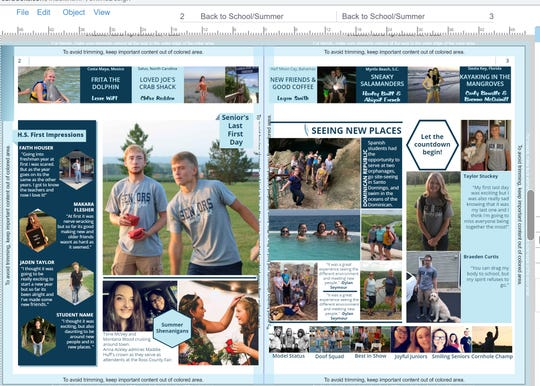A completed spread in the Adena Local Schools yearbook focuses on summer and back to school.