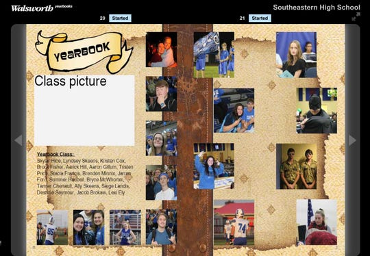 The yearbook staff page was created by Bryce McWhorter, a senior at Southeastern. This is his first year taking the yearbook class. Kimberly Barnes, the yearbook advisor, says he seems very comfortable with the software and has a good eye for placement. They will be adding interview questions for all yearbook students as well.