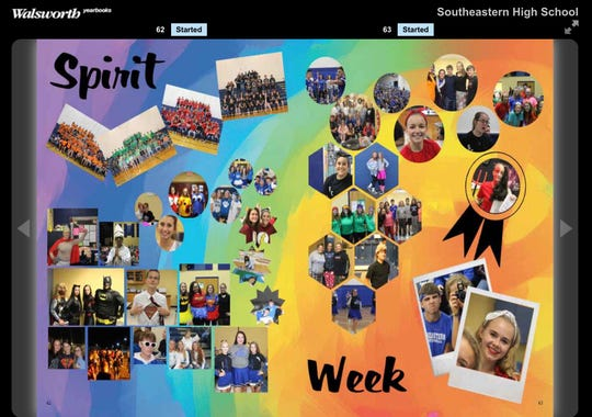 An example spread from the Southeastern High School year featuring Spirit Week. The layout was designed by Tristen Price. She is a senior and is a second-year yearbook student.