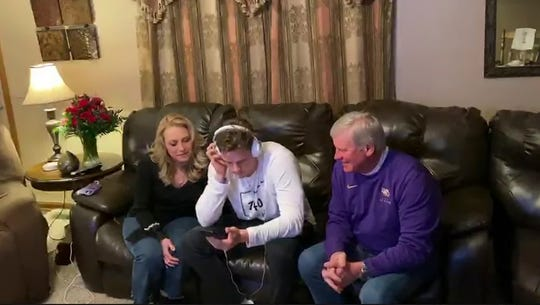 In this still image from video provided by the NFL, LSU quarterback Joe Burrow is chosen first by the Cincinnati Bengals during the NFL football draft, Thursday, April 23, 2020.