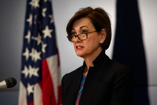 """Gov. Kim Reynolds announces updates on COVID-19 in Iowa on Friday, April 24, 2020 in Johnston. Gov. Reynolds permitted statewide health systems to resume elective procedures as well as farmers markets under distancing parameters starting April 27. Reynolds stated the end of April as when the current """"bulk of declarations"""" on business closings will expire."""