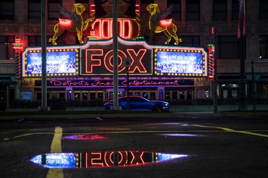 Empty parking lot across Woodward from Fox Theatre in downtown Detroit, Thursday, April 23, 2020.