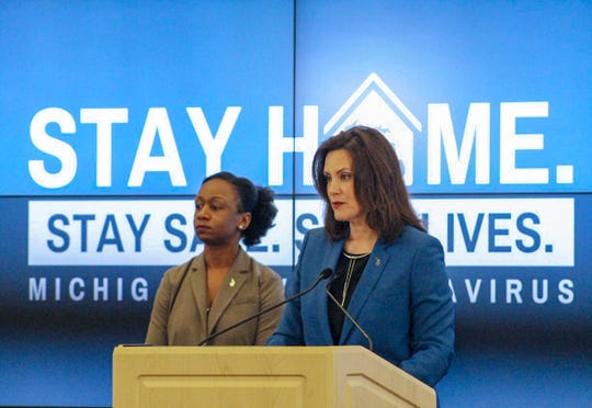 Governor Gretchen Whitmer, left, and and Human Services Chief Medical Executive Dr. Joneigh Khaldun, right, gives an update on COVID-19 during a press conference on April 24, 2020.