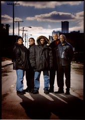 Mike Huckaby (second from right) was part of an artist advisory board for the Detroit Electronic Music Festival (DEMF) in 2002, along with Kelli Hand, Alan Oldham, Juan Atkins and Mike Grant.