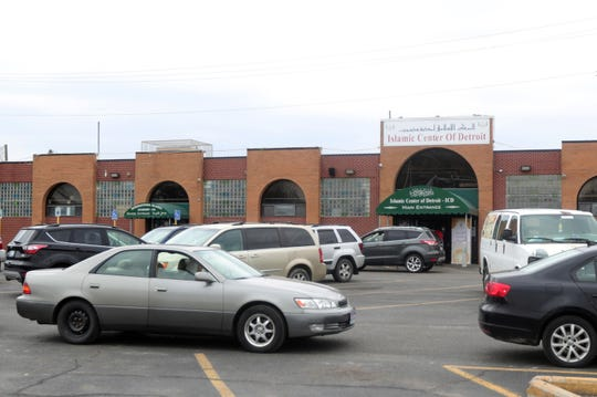 Over three hundred cars lined up to receive food passed out to area residents at the Islamic Center of Detroit Friday, April 24, 2020.  The food distribution was to help people celebrating Ramadan after fasting.
