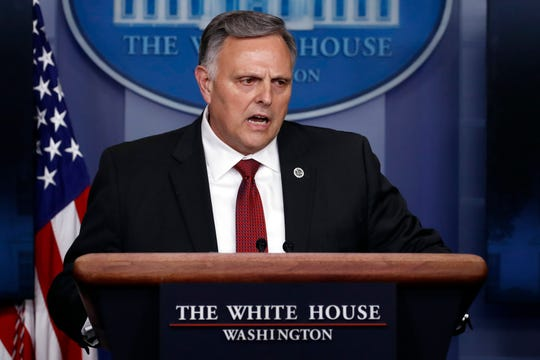 Bill Bryan, head of science and technology at the Department of Homeland Security, speaks about the coronavirus Thursday in the James Brady Press Briefing Room of the White House.