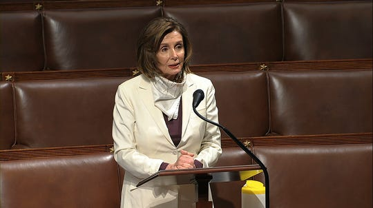 In this image from video, House Speaker Nancy Pelosi of Calif., speaks on the floor of the House of Representatives at the U.S. Capitol in Washington, Thursday.