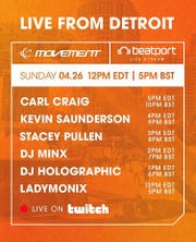 The lineup for Movement's Live from Detroit web concert.