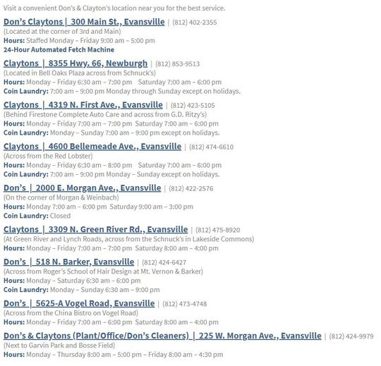 List of Don's Claytons locations in Newburgh and Evansville area.