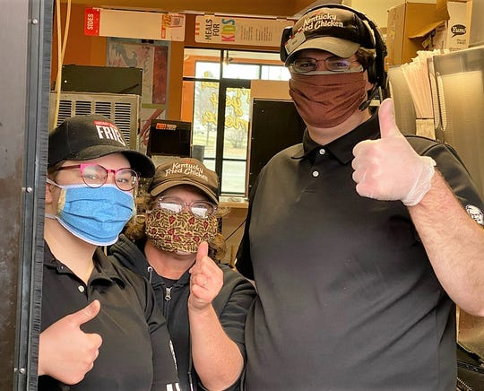 Employees at the KFC in Antigo were among the many business to receive facemasks from the effort that started in Lakewood.