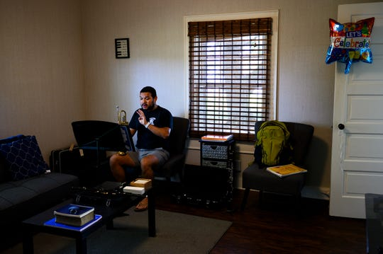 Tanglewood Band Director Josh Recinos pre-records instructional videos for his music students in his home Thursday, April 23, 2020.