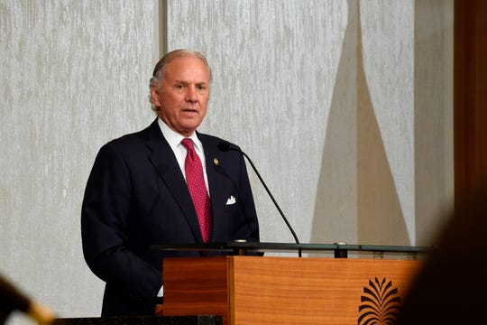 Gov. Henry McMaster addresses the initial gathering of accelerateSC, a group tasked with him on safely scaling the state's economy back up amid the new coronavirus outbreak on Thursday, April 23, 2020, in Columbia, S.C. (AP Photo/Meg Kinnard)