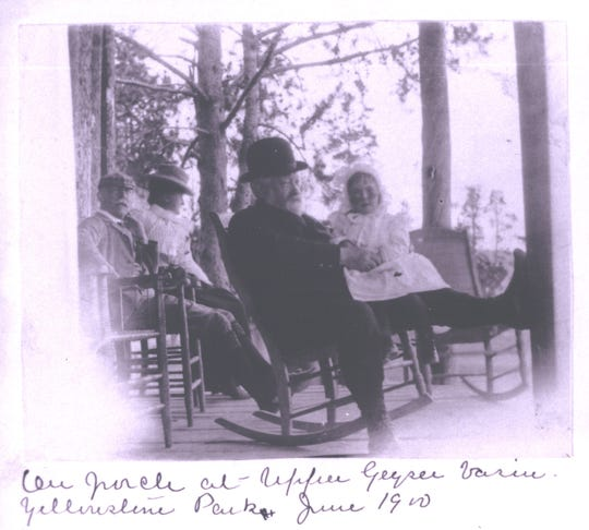 President Benjamin Harrison holds his daughter Elizabeth on the porch at the Upper Geyser basin at Yellowstone Park in June 1900, just 10 months before his death. Harrison visited Yellowstone three times during his lifetime.