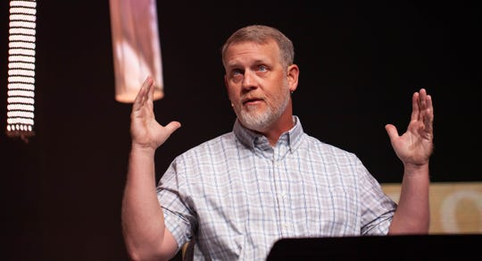 Rev. Stephen DeFur preaching at Cokesbury United Methodist Church on Easter 2019.