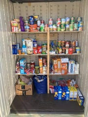 Items were being restocked by the community on Saturday morning, April 18.