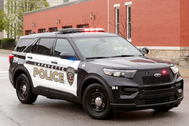 A Lafayette Police cruiser runs code to an injury crash, Thursday, April 23, 2020 in Lafayette. The cruiser is the latest model of police interceptors the department has deployed.