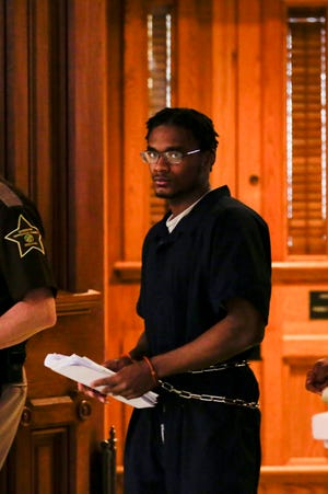 Darius Printup is escorted out of Tippecanoe Superior Court after being sentenced to 16 years in prison by Judge Randy Willams, Friday, April 24, 2020 in Lafayette. Printup was sentenced to 16 years in prison and one year parole after pleading guilty to dealing methamphetamine (between 5 and 10 grams) on March 27, 2020 as part of a plea deal. Several other charges, including possession charges were dismissed as part of that deal.