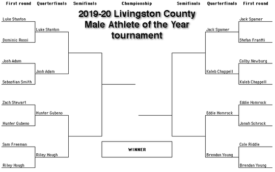 Vote in the quarterfinal matchups for the 2019-20 Livingston County male Athlete of the Year tournament.