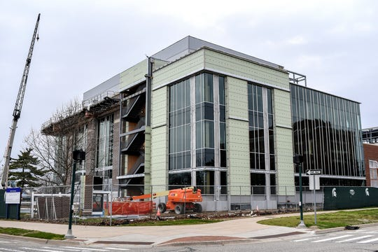 The construction site of the Michigan State University STEM Teaching and Learning Facility photographed on Friday, April 24, 2020, in East Lansing.