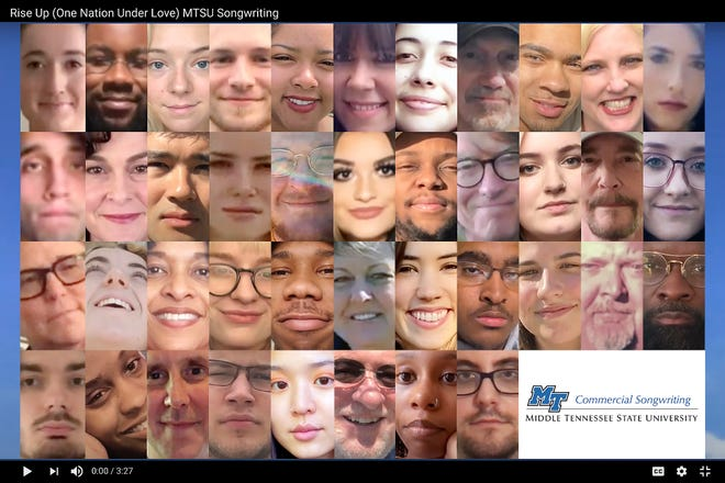 "This photo illustration from the new ""Rise Up (One Nation Under Love)"" music video shows 41 participants representing student, faculty and staff from MTSU's Commercial Songwriting Program, including composer Caitlin Eadie at top left; music arranger and adjunct professor Robert Jason, second from right on the second row; and program director and video creator Odie Blackmon, second from right on the second row."