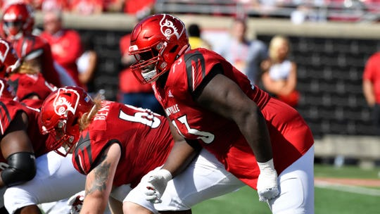 Louisville offensive lineman Mekhi Becton (73) during the first half of an NCAA college football game in Louisville, Ky., Saturday, Oct. 19, 2019.