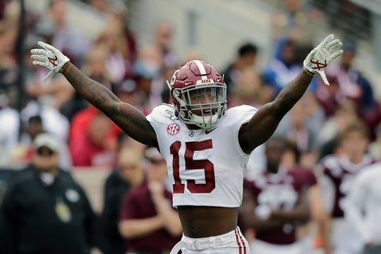 In this Oct. 12, 2019, file photo, Alabama defensive back Xavier McKinney (15) calls a play during the second half of an NCAA college football game against Texas A&M, in College Station, Texas. McKinney was selected to The Associated Press All-Southeastern Conference football team, Monday, Dec. 9, 2019.