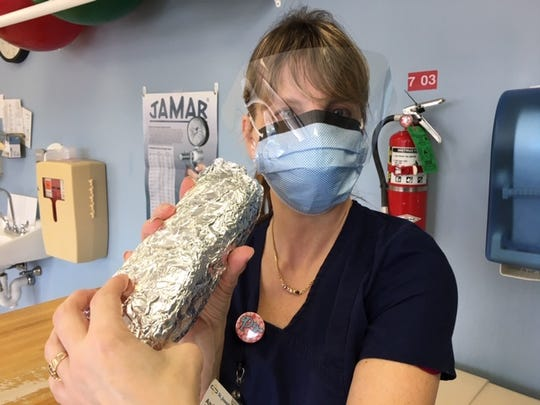 Andrea Prezwodek, at physical therapist at St. Joseph's Wayne Hospital, was among the medical staff donated meals by the Wayne Education Association on April 7.