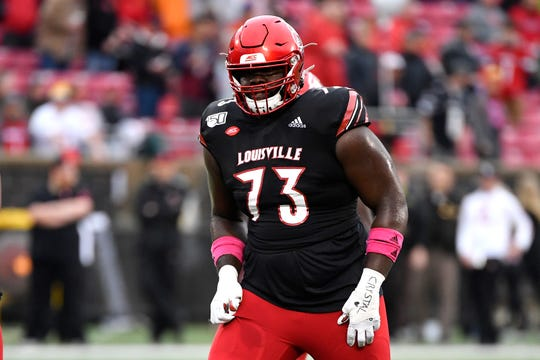 Louisville offensive lineman Mekhi Becton (73) in action during the first half of an NCAA college football game in Louisville, Ky., Saturday, Oct. 26, 2019.