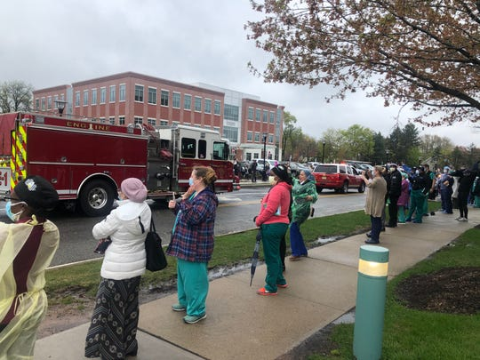 The Montclair and Glen Ridge police and fire departments organized a parade for the healthcare workers at the Hackensack Meridian Health Mountainside hospital on April 24, 2020.