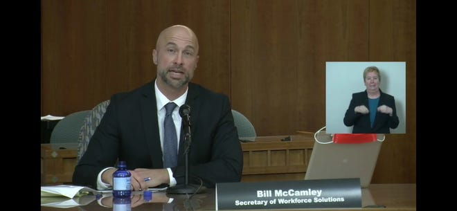 New Mexico Workforce Solutions Secretary Bill McCamley speaks during a livestreamed news conference at the Capitol in Santa Fe, Friday, April 24, 2020.