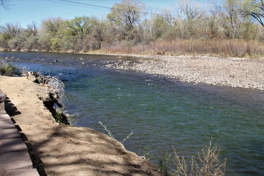 The Animas River flows near Boyd Park Landing in south Farmington on April 24, 2020.