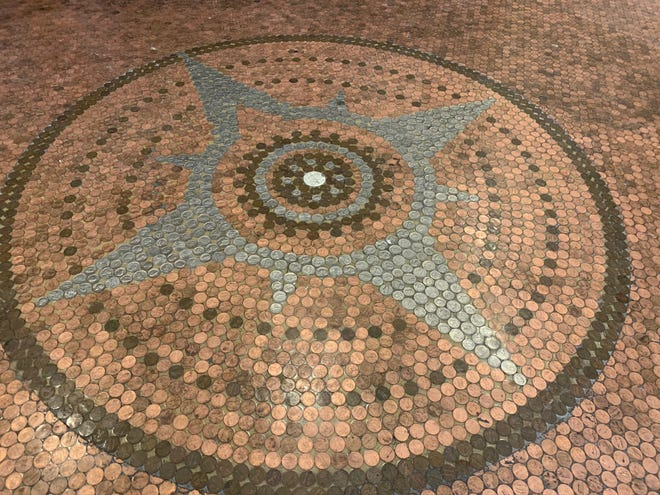 Copper Hall, 238 Otter Ave., Oshkosh, offers an event venue with a floor containing about 1,500 pennies.