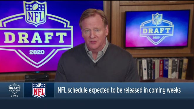 In this still image from video provided by the NFL, Commissioner Roger Goodell speaks just before the NFL football draft, Thursday, April 23, 2020.