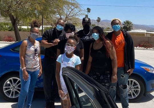Shaylon Franklin, Michelle Johnson, Tricina Sheppard, Mykayla Sheppard, Crystal Green, Tre Terry and Estela Rojas make up the World of Life team that provides lunches to essential workers in Desert Hot Springs and parts of Palm Springs.
