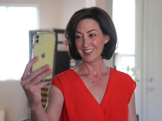 Katie Finn talks with her grandmother Carole Gowdy who lives in a Palm Desert nursing home via a video call,  April 24, 2020.