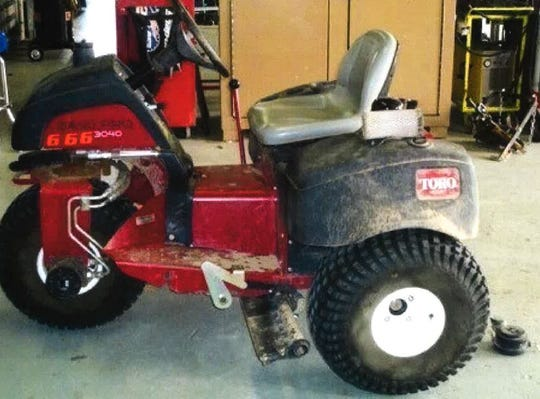 This three-wheel Toro Sand Pro, valued at about $21,000 and used to rake the ball fields at Davis Field in Indio, was among items taken during a burglary sometime between April 19 and April 22, 2020.