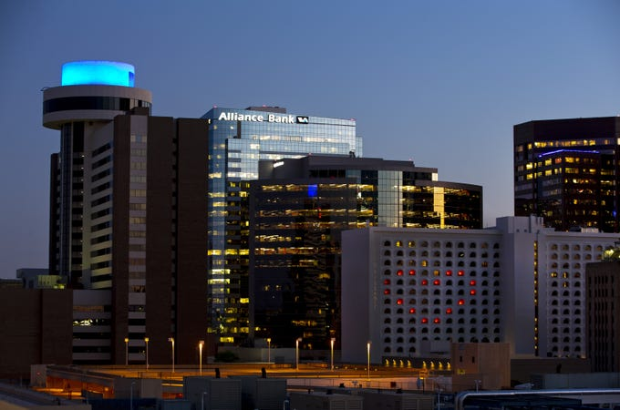 Phoenix's skyline honors healthcare workers on April 23, 2020 during the corona virus outbreak.